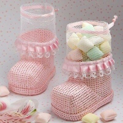 50 Pink Baby Bootie Mesh Bags Baby Shower Favors
