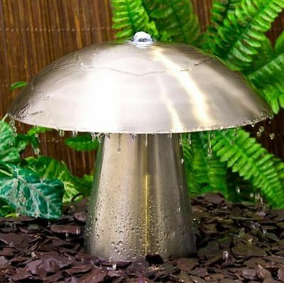 Silver Mushroom Water Feature Fountain Cascade Contemporary Stainless Steel