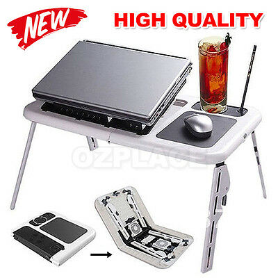 Premium I Laptop Stand Desk Foldable Table Bed USB Cooler Cooling Fan TV Tray