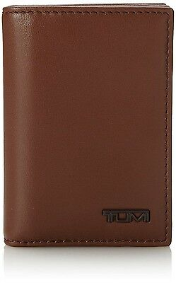Tumi Saddle Brown Gusseted Card Case Wallet top grain leather w/ ID window, NWT