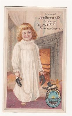 Ant. Trade Card John Mundell Phila - Solar Tip & Pansy Shoes - Girl in Nightgown