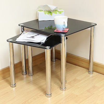 Hartleys Black Glass Nest of 2 Tables For Home/Lounge/Side/End/Coffee/Lamp Stand