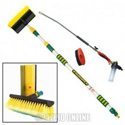 3 Mtr Aluminium Telescopic Water Fed Window Car Wash Brush Spray Gutter Cleaner
