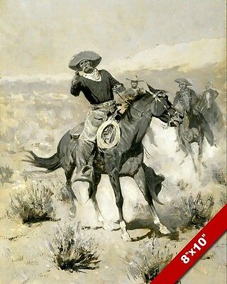 Cowboy On Horse Stick Up Remington Oil Painting Art Poster Print On Real Canvas