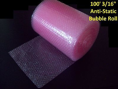 "100 Foot PINK Anti-Static Bubble Wrap® Rolls! 3/16"" Small Bubbles! Perforated!"