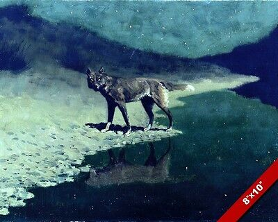 The Wolf At Night Moonlit American West Remington Art Oil Painting Canvas Print