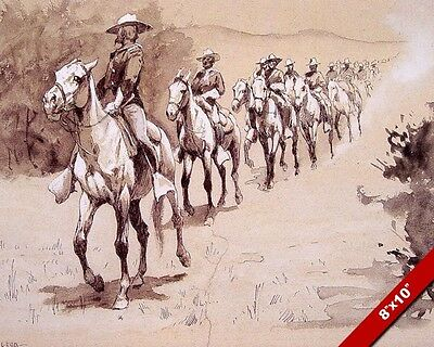 Us Army Cavalry In The American West Desert Remington Art Painting Canvas Print