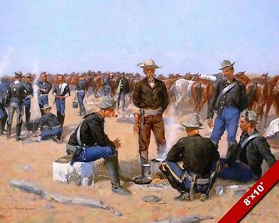 Us Army Cavalry On The Plains Remington Art Oil Painting Print On Real Canvas