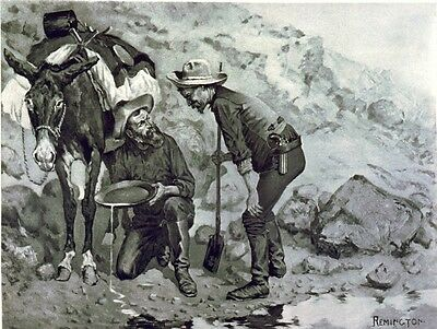 The Gold Pan Prospector Western Miner Remington Art Oil Painting Canvas Print