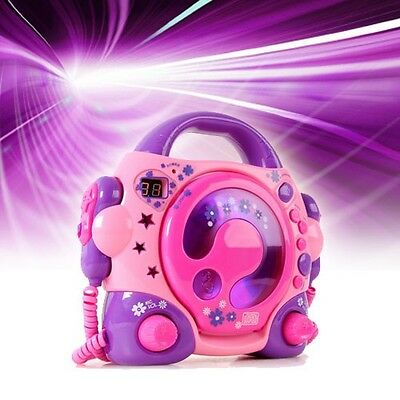 Karaoke Kinder Radio sing a long portable Musik Anlage CD Player + 2 Mikrophone