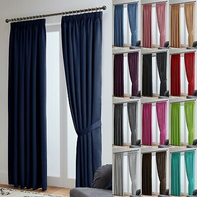 Thermal Blackout Pencil Pleat Ready Made Curtains - Blockout Energy Saving