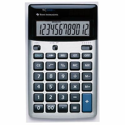 Texas Instruments TI5018SV Solar & Battery Powered 12-Digit Desk Calculator New