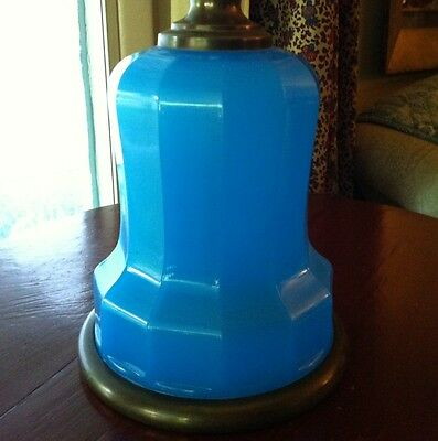 Antique French Blue Opaline Glass Lamp ~ Rare