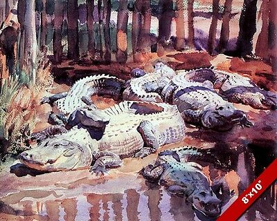 Muddy Aligator Pit In The Louisiana Bayou Oil Painting Art Print On Real Canvas