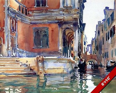 LA RIVA DEL VIN VENICE ITALY WATER COLOR PAINTING ART PRINT ON REAL CANVAS