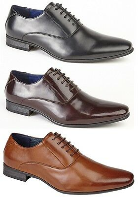 Mens Smart Wedding Shoes Faux Leather Formal Lace Office Work Dress Boys SizeNew