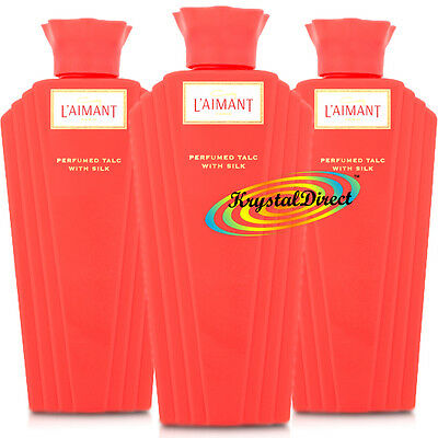 3x Coty L'aimant Laimant 100g Talcum Powder Perfumed Body Talc with Silk