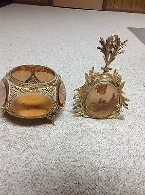 Vintage 1960s ornate lady's glass jewelry box and perfume bottle with applicator