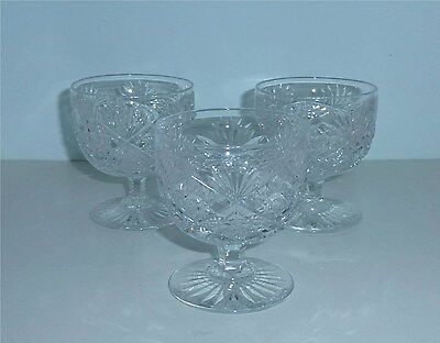 3 ABP Hawkes Cut Glass Footed Punch Cups