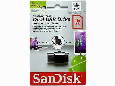 SanDisk Ultra Dual USB Drive 16GB 16G Retail Package for Smartphone and PC