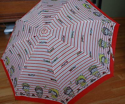 "1980s Childs Umbrella RED Plastic Handle Little Girl's ""Happy Friends Hello"" Vtg"