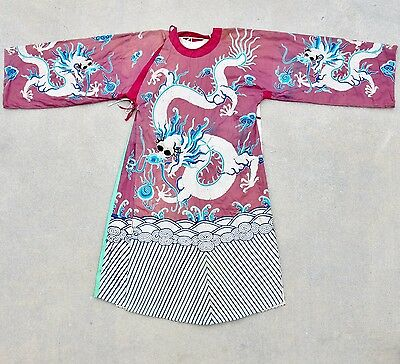 Antique Chinese Embroidery Purple Opera or Winter Robe with Celestial DRAGONS