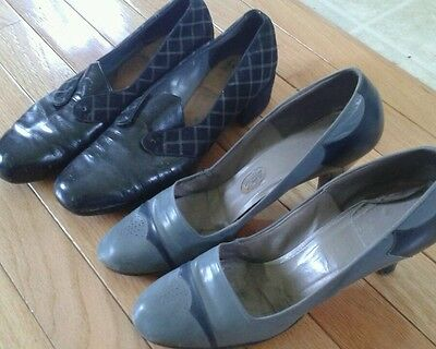 Vintage 1940's black suede leather babydoll pumps 9  WWII pin up