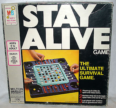 VINTAGE MILTON BRADLEY 1978 STAY ALIVE GLASS MARBLE SURVIVAL BOARD GAME COMPLETE