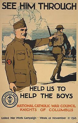 WWI KNIGHTS of COLUMBUS AD POSTER HOME FRONT CATHOLIC WAR COUNCIL NEW PRINT 1918
