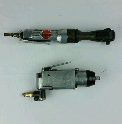 "Set Of 2 Pneumatic Tools 1/4"" Grinder made In Japan & 3/8"" Ratcehet Made in Taiw"