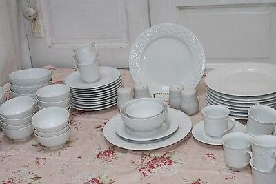 72 Pc Gibson China Set Royal Quilt White Dinner Plates Pasta Cereal Bowls 12 Plc