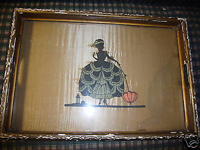 VINTAGE ANTIQUE TRAY RENAISSANCE LADY GLASS +WOOD PARIS APT.