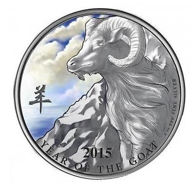 Niue 2015 $2 Year of the Goat Coloured Proof .999 1 Oz Silver Coin LIMITED!!!