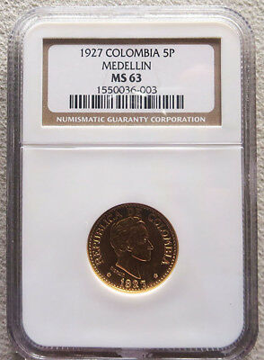 1927 Gold Colombia 5 Pesos Simon Bolivar Coin Ngc Mint State 63