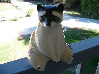 Porcelain Sitting Raccoon Figure, Vintage. Lomonsov, Russian 4 1/2 inches tall.
