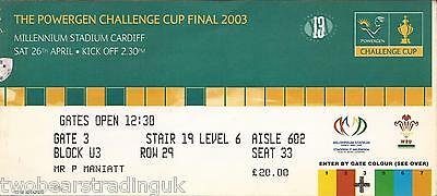 BRADFORD v LEEDS (Powergen RL Challenge Cup Final 26.4.2003) Used Match Ticket