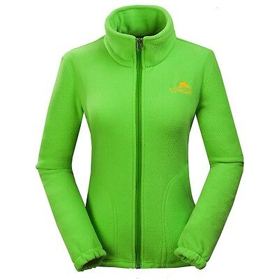 Women's New Fleece Jackets Outdoor Athletic Anti-pill Hiking Camp Coat Green XXL