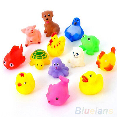 13Pcs Cute Soft Rubber Float Sqeeze Sound Baby Wash Bath Play Animals Toys