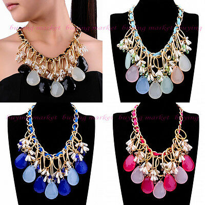 Fashion Gold Chain Pearl Big Resin Crystal Cluster Choker Statement Bib Necklace