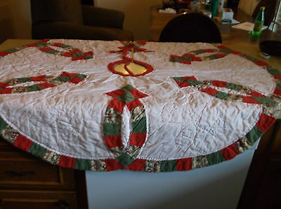 Vintage Double Wedding Ring Christmas Tree Skirt Red Green &White
