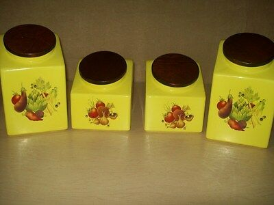 Vintage~Canister Kitchen Set~Lids~Hyalyn~USA~Bright Yellow~60's~4 Piece~Nice