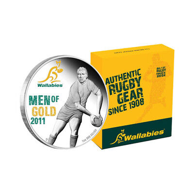 2011 $1 Wallabies Rugby Men Of Gold 1oz Silver Proof Coin