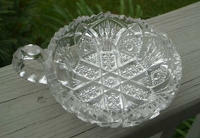 OLD DEPRESSION GLASS SERVING BOWL NU CUT CRYSTAL NAPPY