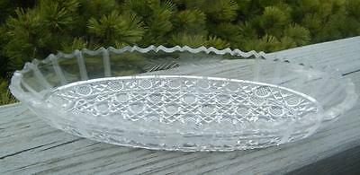 EAPG ANTIQUE GLASS CANE RELISH PICKLE SERVING DISH BOWL