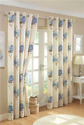New Pair Of Ring Top Lined Curtains Ready Made Curtains Eyelet Curtains Flowers