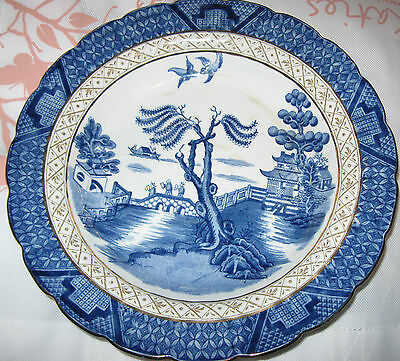1 VINTAGE BOOTHS REAL OLD WILLOW SILICON CHINA MADE in ENGLAND BREAD & BUT PLATE