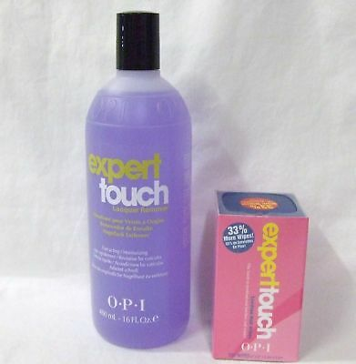 OPI Expert Touch Gel & Polish Remover 16oz + Nail Wipes 200ct Combo