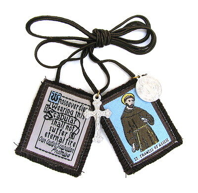 Scapular St Francis Assisi Mt Carmel Brown Scapular 100% Wool & Medals Catholic