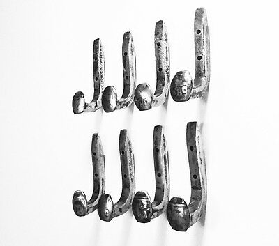 8 Brushed Steel Antique Coat Hooks Old Railroad Spikes Heavy Duty Shop Hanger