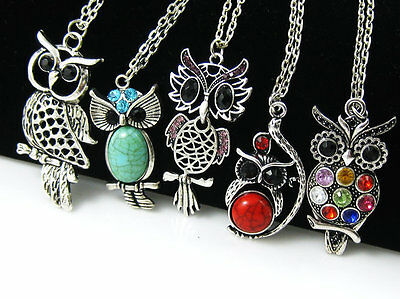 hot sell 5 pcs wholesale lot mix owl bird rhinestone crystal necklace Gift MT05